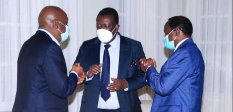 Photo of KANU Chairman Gideon Moi (from Left), ANC Party Leader Musalia Mudavadi and Wiper Party Leader Kalonzo Musyoka speaking during a One Kenya Alliance Meeting taken on June 30, 2021.