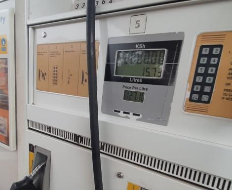 An image of a fuel pump at a Nairobi petrol station on July 14, 2021.