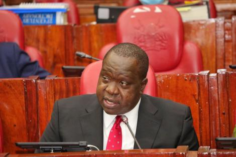 Interior Cabinet Secretary Fred Matiang'i appears before the National Assembly departmental committee on Wednesday, September 1