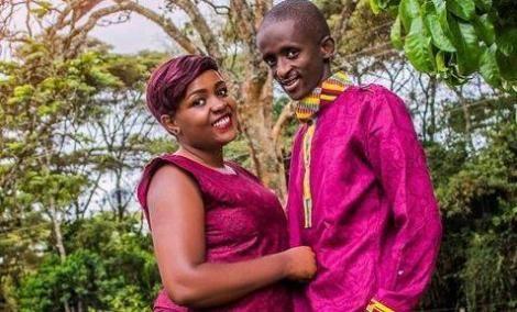 Comedian Timothy Kimani alias Njugush and wife Celestine Ndinda pose for a photo