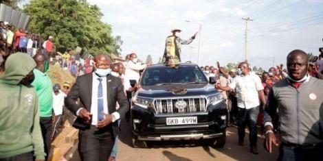 ODM leader Raila Odinga arrives in Suna East, Migori County on Monday, August 1, 2021
