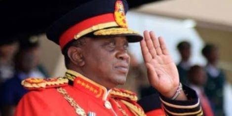 President Uhuru Kenyatta dressed in ceremonial military regalia