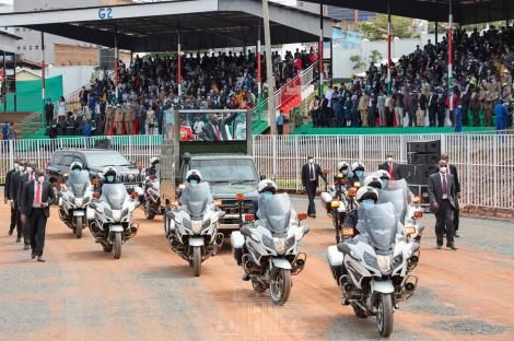 President Uhuru Kenyatta arrives at the Gusii stadium on Mashujaa Day October 20, 2020.