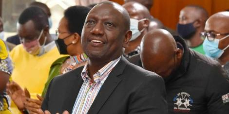 Deputy President William Ruto worshiping with congregants during Sunday service at The Global Cathedral on September 12 2021