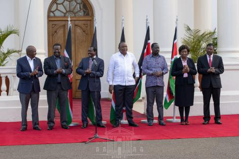 President Uhuru Kenyatta (in white) with other political leaders during an address at State House on Thursday, February 25, 2021.