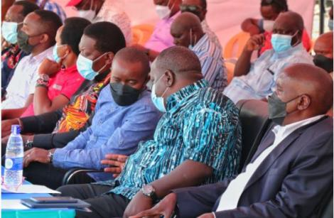 CSs Eugene Wamalwa (Defence), Joe Mucheru (ICT), Fred Matiang'i (Interior) and Kajiado Governor Joseph Ole Lenku in Kajiado