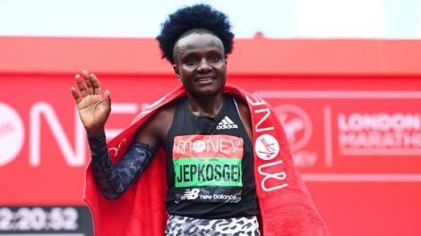Joyciline Jepkosgei Pictured After Winning the London Marathon.