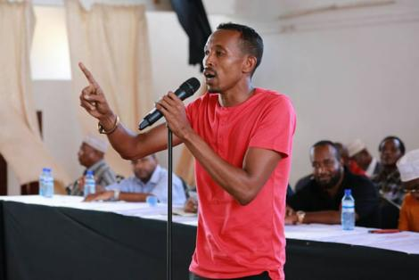 Nyali MP Mohammed Ali speaking at a past forum in Mombasa County