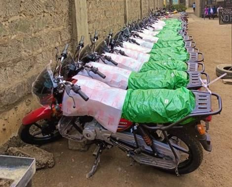 An image of the motorcycles recovered by the police in Moyale on October 10, 2021.