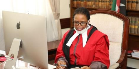 Lady Justice Martha Koome while she delivered judgments and rulings of the Court of Appeal via Skype on April 24, 2020.