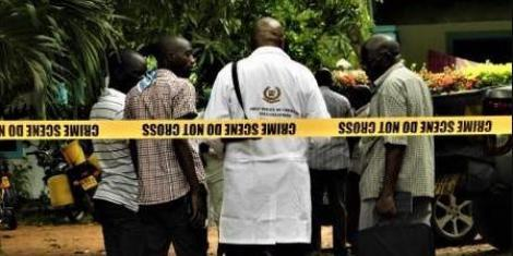 Undated image of detectives at a crime scene in Nairobi, Kenya