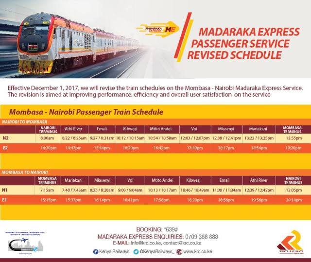 SGR Madaraka Express Train and SGR InterCounty train Schedule Between Nairobi and Mombasa