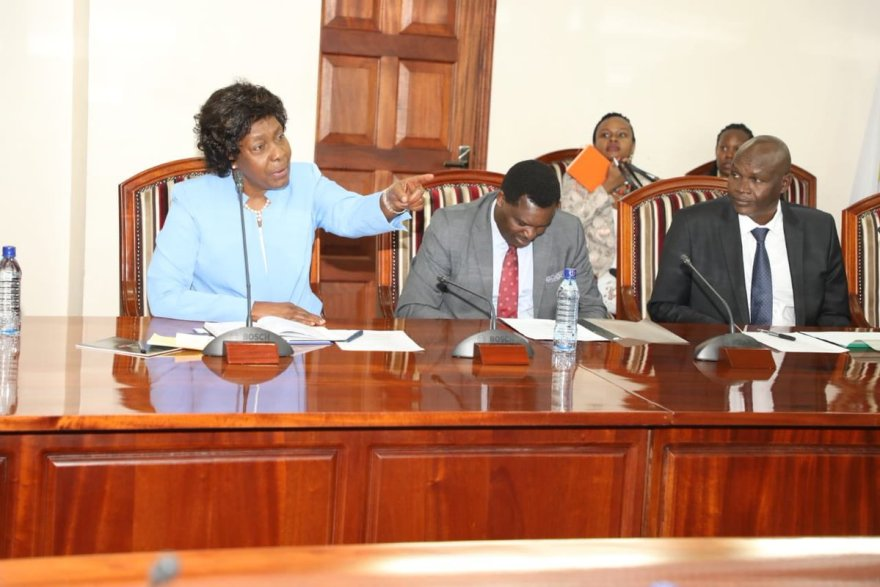 Kitui Governor Charity Ngilu during a meeting with fellow governors on October 2019.