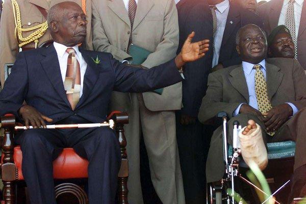 Former Presidents Daniel Moi (left) and Mwai Kibaki during the latters swearing in at Uhuru Park on December 30, 2002.