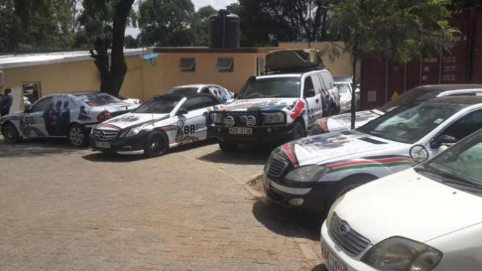 A fleet of BBI-branded cars pictured in Nairobi on Wednesday, February 26