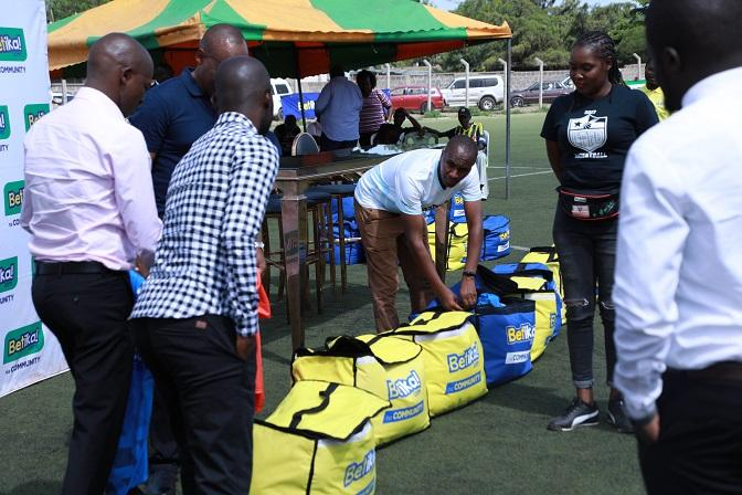 Betika representatives hand over kits and gifts to the National Super League team representatives at Camp Toyoyo on February 24.