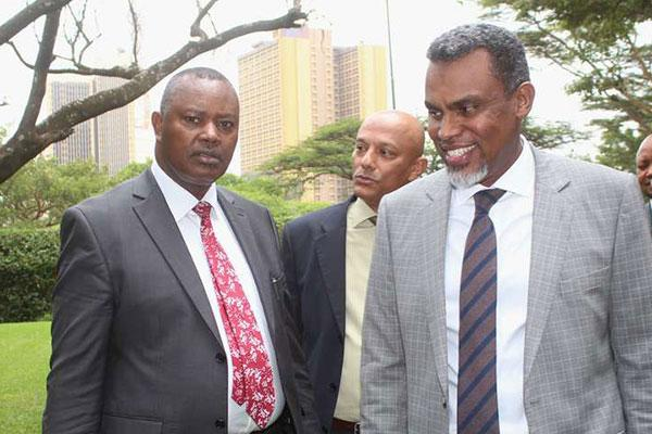 Director of Criminal Investigations George Kinoti, Ethics and Anti-Corruption Commission CEO Twalib Mbarak and Director of Public Prosecutions Noordin Haji at an end-corruption conference at Serena Hotel on May 29, 2019.