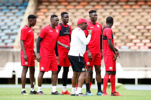 Harambee Stars coach Francis Kimanzi gives instructions during a training session at Moi International Sports Centre, Kasarani on October 12, 2019