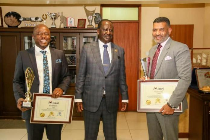 Kitutu Chache MP Mark Nyamita (Left), ODM party leader Raila Odinga (Centre) and Mvita MP Abdulswamad Nassir (Right) at Odinga's office in Nairobi on Tuesday, February 25, 2020.