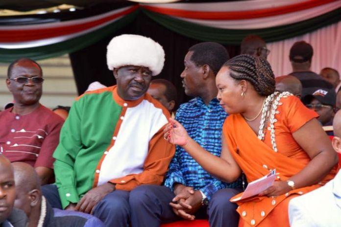 (From left) Meru Governor Kiraitu Murungi, AU envoy Raila Odinga, Agriculture CS Peter Munya and Kirinyaga Governor Anne Waiguru at Kinoru Stadium, Meru County on Saturday, February 29, 2020