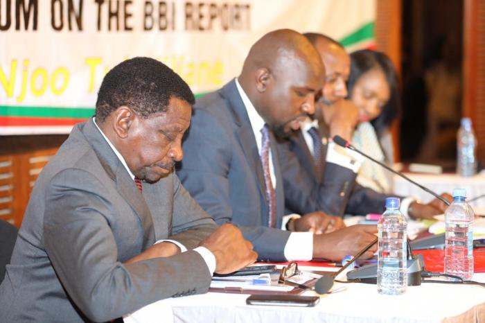 Senate Minority Leader James Orengo (left) and his counterpart Kipchumba Murkomen presenting their proposed amendments at Laico Regency on March 10, 2020.