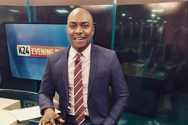 K24 anchor Erick Njoka during a news bulletin in February 2020