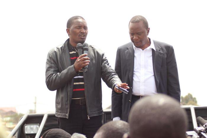 President Uhuru Kenyatta with Agriculture CS Mwangi Kiunjuri in a past rally. Central Kenya businesspeople announced that Kiunjuri should be Uhuru's successor as the region's kingpin