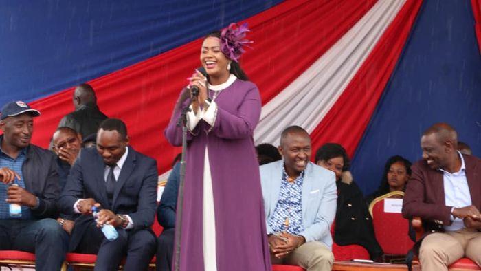 Laikipia Woman Rep Cate Waruguru speaking in Tharaka Nthi on Saturday, November 23