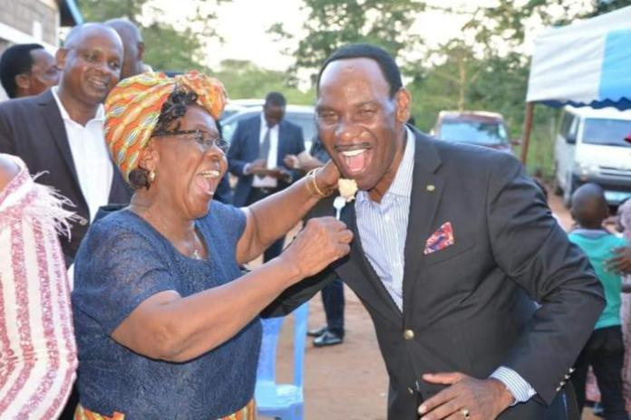 Esther Kavisi (left) with KFCB CEO Ezekiel Mutua in Mwaasua on Sunday, February 16, 2020.