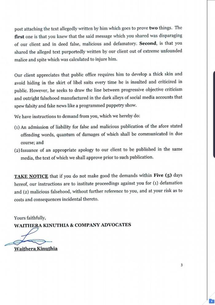 A part of the letter served to Polycarp Hinga by Dennis Itumbi's lawyers on Thursday, November 21, 2019. Itumbi argued that the blogger's tweet had made him suffer distress and embarrassment