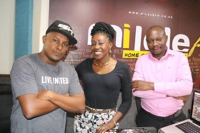Jacquey Nyaminde popularly known as Wilbroda, Francis Luchivya and DJ Slim254 at the Milele Radio studio.