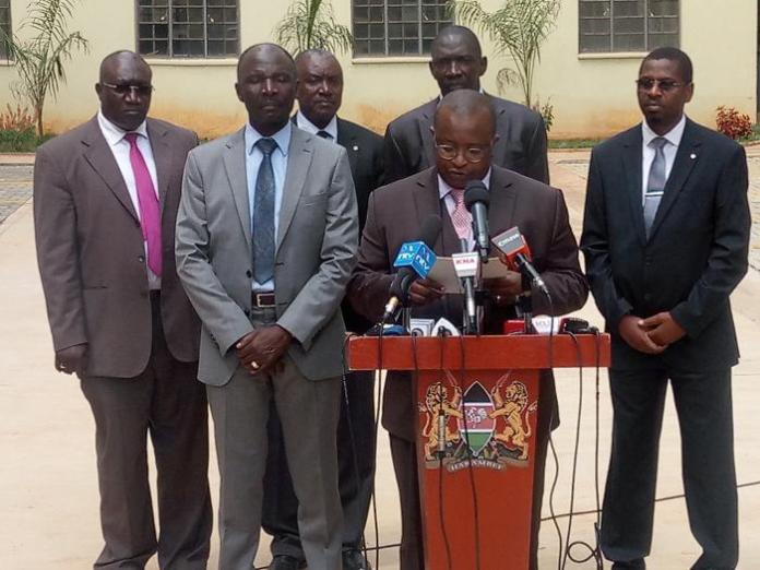 Charles Hinga addresses the press at the hand-over ceremony for the Park Road, Ngara affordable housing project on Thursday, January 16