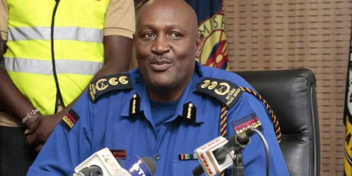 Inspector General Hillary Mutyambai addresses the media. He recently ordered for the transfer an entire traffic department