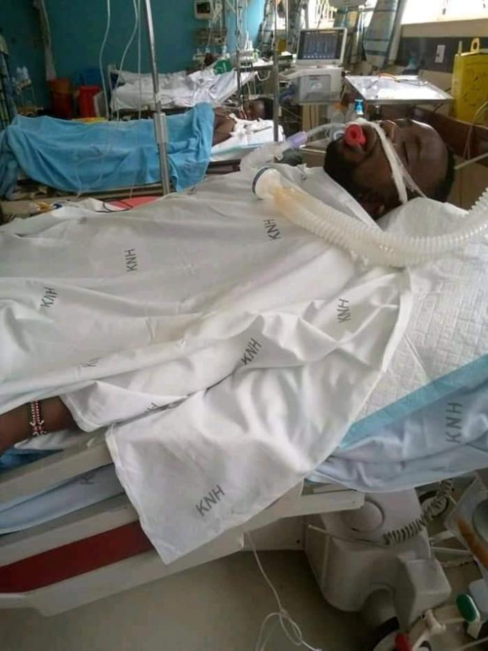 Richard Muema in his hospital bed in Kasarani after he was admitted with gunshot related wounds in November 2019.