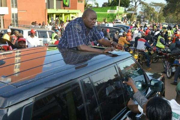 Andrew Ngirici campaigns for his wife Purity Ngirici during 2017 elections
