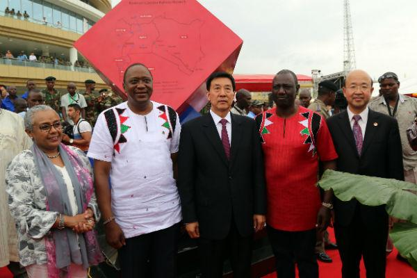From Left: First Lady Margaret Kenyatta, President Uhuru Kenyatta Chinese Special Envoy Wang Yong, and DP William Ruto during the commissioning of the Standard Guage Railway (SGR) On May 31, 2017