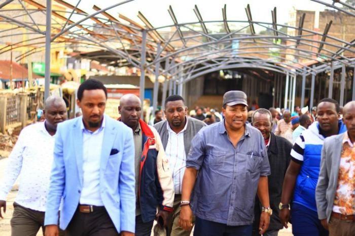 Kiambu Governor Ferdinand Waititu and Sports CEC Karungo Thang'wa arrive at Limuru Market on December 5, 2019.