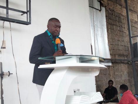 JCC Ongata Rongai Pastor Peter Mwarabu conducting a sermon on Tuesday, March 23.