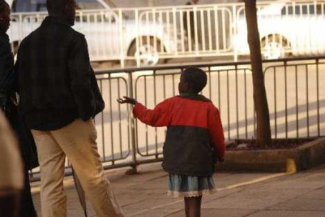 A child pictured in the streets of Nairobi.