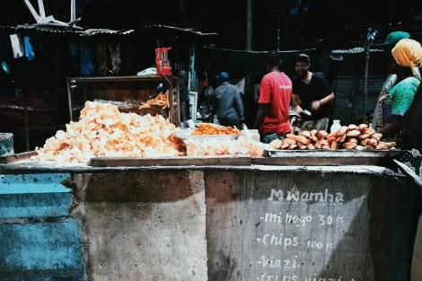 A roadside food vendor stand.