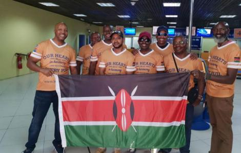 Photo of Dafton Mwitiki (Centre, smiling in black hat) with other members of the team that represented Kenya at the 2019 IDPA shooting tournament in South Africa