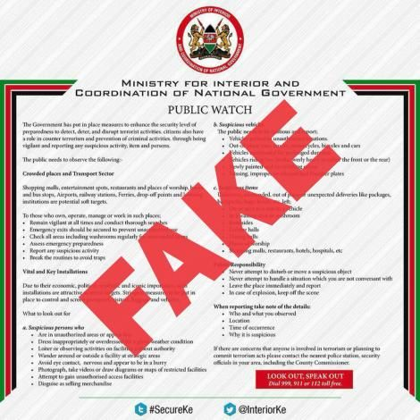 A notice flagged as fake by the Ministry of Interior on January 22, 2020