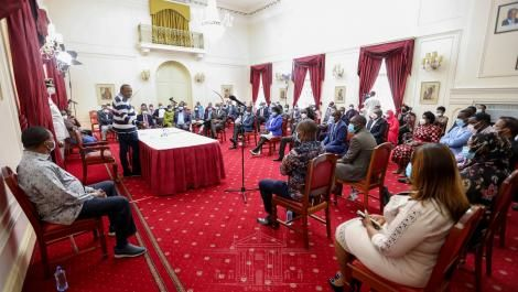 President Uhuru Kenyatta addressing Parliament leaders at State House on October 17, 2020