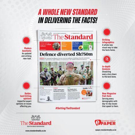 Standard Group PLC unveiled a new newspaper design on Thursday, April 8.