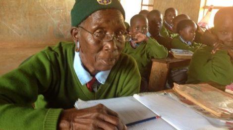 Priscilla Sitenei attending a lesson at Leaders Vision Preparatory School in Ndalat