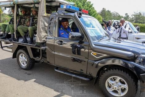 Inspector-General of Police Hillary Nzioki Mutyambai all smiles behind the wheel of a locally assembled Mahindra at State House Nairobi on March 9, 2020.
