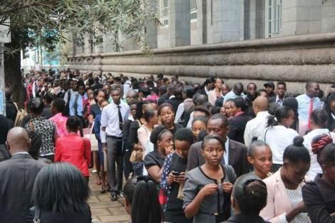 Jobseekers queue on Wabera Street, Nairobi, as they wait to be interviewed by The Sarova Stanley on May 26, 2018.