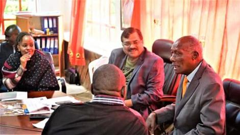 Kesses MP Mishra Swarup second right) meets Uasin Gishu politician Jackson Kibor (right) in April 2018