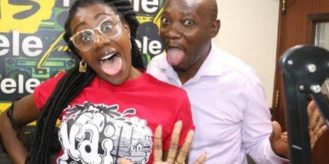 Jacqueline Nyaminde pictured at Milele FM studios with Francis Luchivya