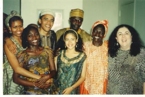A rare photo of Malik Obama (in golden headgear) with former US President Barack Obama and former first lady Michelle Obama among other relatives